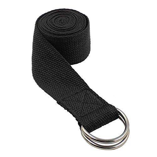 a Gürtel für Flexibilität und Physiotherapie Fitness Sport Yoga Tragegurt Yoga-Riemen Yoga Stretching Gürtel (Schwarz) (Seil Gürtel)