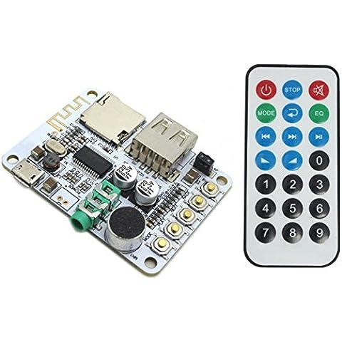 WINGONEER Junta Receptor de audio portátil inalámbrico Bluetooth con control remoto, Soporte de tarjeta TF Decording / USB Reproducir / radio FM / Bluetooth estéreo de música Módulo Transmisor para Auriculares HIFI amplificador de cine en casa