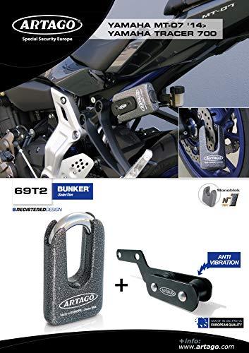 Double Fermeture /Ø 15/homologu/é SRA M/étallique Sold Secure Gold artago 69t2/Cadenas antivol Disque Haute Gamme et Support pour Yamaha mt-07/et Tracer 700 art4