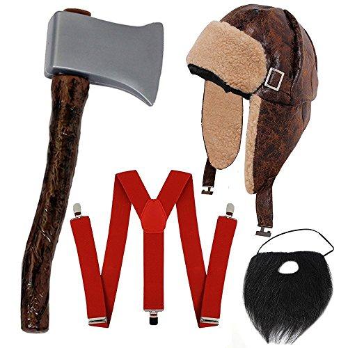 Herren Outlaw Kostüm - ILOVEFANCYDRESS HILLY Bill HOLZFÄLLER-Lumberjack = KOSTÜM VERKLEIDUNG Halloween Fasching+Karneval Unisex=HOSENTRÄGER+MÜTZE+AXT+BART