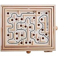 3D-Holz-Labyrinth-Puzzle-Spiel für Kinder, Lernspiel, Labyrinth 27.5x23x6cm holzfarben