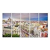 bilderfelix Cuadro Lienzo Paisaje Urbano de Madrid España por Encima de la Calle Comercial Gran Via...