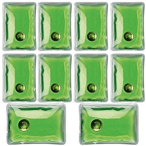 Confezione da 10 gel riutilizzabile dello scaldino della mano Heat Pack - confezioni Riscaldamento istantanea (rettangolo verde)