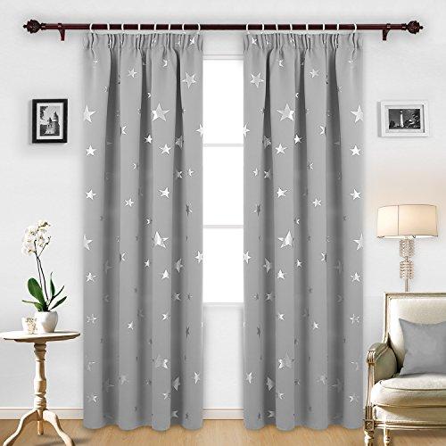 Deconovo Vorhang Blickdicht Kräuselband Gardinen Sterne Gardinen Wohnzimmer Weihnachtsvorhänge 229x117 cm Grau 2er set