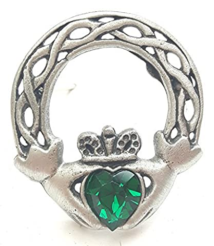 Claddagh Irish Handcrafted From English Pewter Brooch + 59mm button badge + gift bag