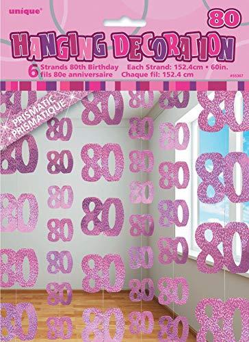 NANA'S PARTY Geburtstags-Partyzubehör, zum 80. Geburtstag, Pink Hanging Decorations - 80th/Age.