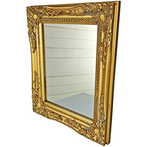 32x27x3cm espejo de pared rectangular, marcos antiguos de época hechos a mano de madera, oro, incl.
