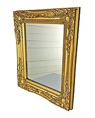 Idea Regalo - 32x27x3cm specchio a parete rettangolare, fatti a mano cornici antiche d'epoca in legno, oro, incl. Assembly