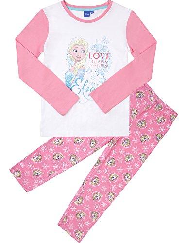Frozen Mädchen Schlafanzug aus Baumwolle EP2009 (Weiß/Rosa (2182), 4 Jahre-104) (Muster Von Hose Ausarbeitung)