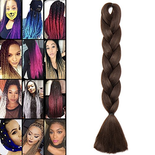 Extension treccia per capelli treccine braiding hair una ciocca 100g, 4# marrone cioccolato