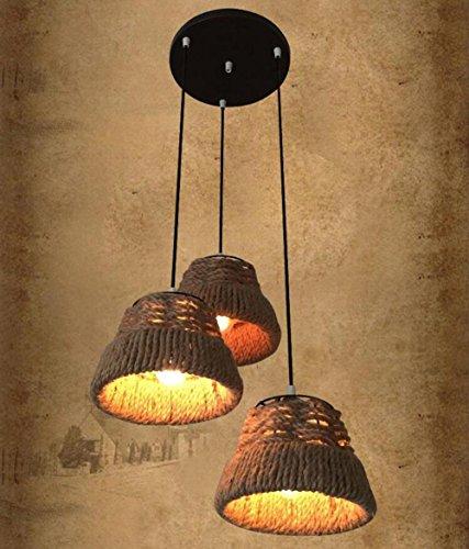 Suspensions Rétro style industriel Loft personnalité Paille Chapeau Corde de chanvre et Fer pendentif lumières pour Café, Magasin de vêtements, Bar, Restaurant, 3 head A
