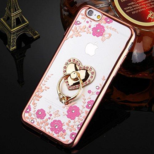 Phone case & Hülle Für iPhone 6 Plus / 6s Plus, Grüne Blumen & Pfau Flügel Pattern Diamond Electroplated TPU Schutzhülle mit Halter ( SKU : IP6P0101H ) IP6P0101H