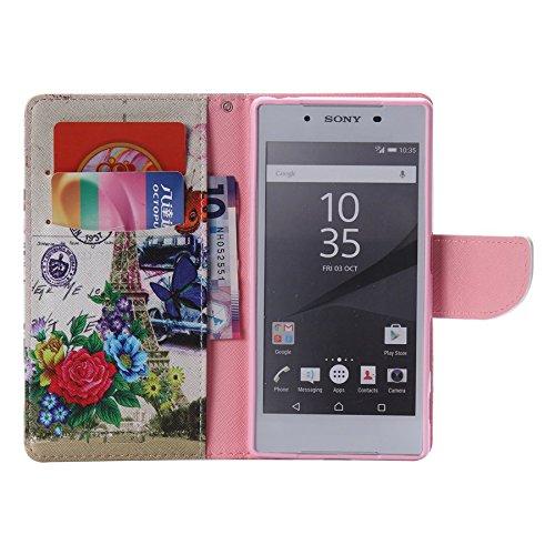 Ooboom® Sony Xperia Z5 Coque PU Cuir Flip Housse Étui Cover Case Wallet Portefeuille Fonction Support avec Porte-cartes pour Sony Xperia Z5 - Don't Touch My iPhone Fleur