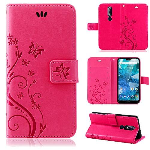 betterfon | Flower Case Handytasche Schutzhülle Blumen Klapptasche Handyhülle Handy Schale für Nokia 7.1 Pink