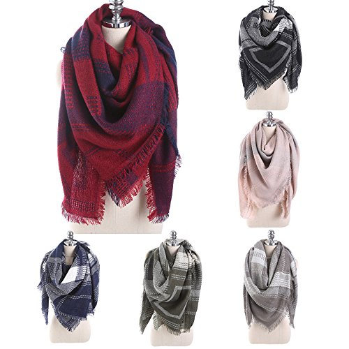 Overdose Women Scarf Solid Plaid Stitch Long Cashmere Wool Shawl