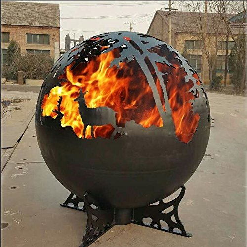 Stahl Fire Globe/Fire Pit Schale/Fire Ball-Eigenschaften Hirsch und Woodland Design Silhouette
