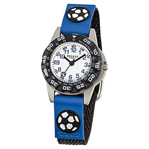 Regent, orologio da polso per bambini, alla moda, analogico, cinturino in tessuto blu e nero, al quarzo, URF942