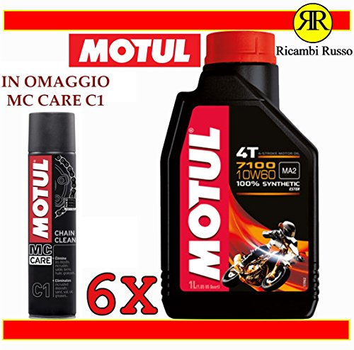 Motul 7100 10w60 olio motore moto 4 tempi litri 6 + OMAGGIO MC Care C1 Ch