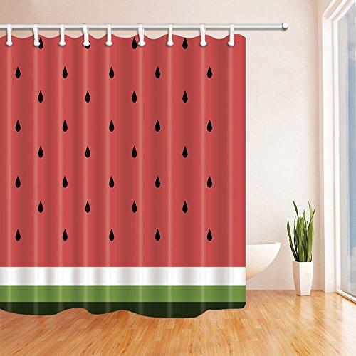Samen Bad Vorhang Polyester Stoff wasserdicht Duschvorhang 179,8x 179,8cm Vorhänge Dusche Haken im Lieferumfang enthalten rot grün ()
