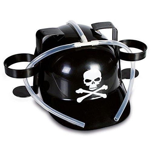 HC-Handel 910921 Trinkhelm Totenkopf Piraten Kunststoff 30 x 28 x 15 cm schwarz/weiß
