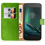 JAMMYLIZARD Moto G4 Lederhülle Handyhülle [ Retro Series ] Ledertasche Flip Case Cover Hülle Leder Schutzhülle mit Kartenfach für Motorola Moto G (4. Generation), Grasgrün