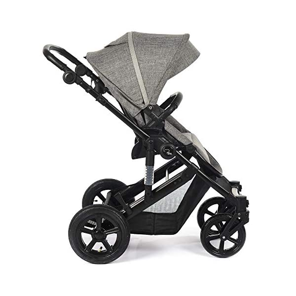 Roma Moda Pram, Includes Carry Cot, Rain Cover, Cup Holder and Bag - Grey Roma Suitable from newborn - 15kg - Raised backrest in the carry cot Lightweight aluminium frame - All round suspension - Easy fold All terrain tyres (rear air tyres and front foam tyres) Large hood with viewing window 6