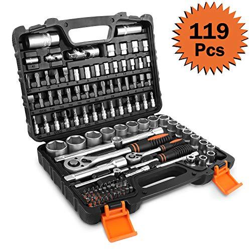 Set di chiavi a bussola tacklife, 119 pezzi, chiave a cricchetto reversibile da 1/2
