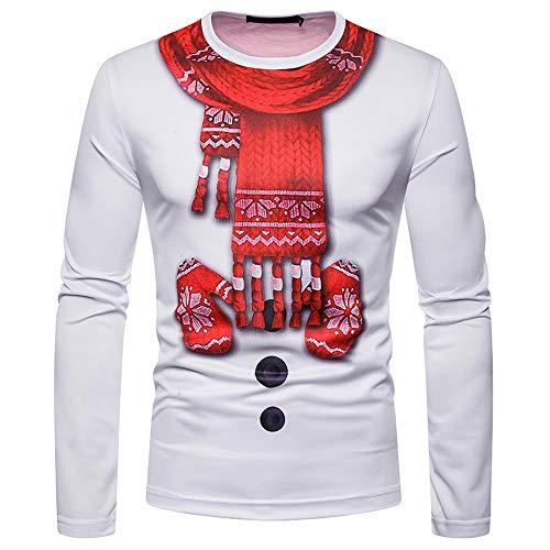 KPILP Tops Herren Pullover Ugly Christmas LangarmshirtsCostume Santa Print Sweatshirts Urlaub Humor Langarm-T-Shirt(G-weiß,EU-52/CN-S