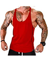 Vergiss para Hombre Muscle Gym Stringer Tank Top para Culturismo (Black & Red, XXL)