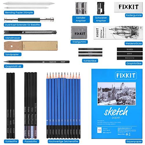 FIXKIT 41PCS L/ápices Profesionales de Dibujo L/ápices de Carb/ón Grafito Incluidos y Papel de Dibujo Funda con Cremallera Juego de L/ápices y Set de Bocetos Ideal para Adultos y Ni/ños 16 P/áginas
