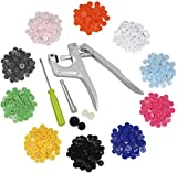 tinkertonk 150 Set T5 Snap Poppers Plastic 10 Colors Buttons Fastener Pliers Punching Tool DIY Tool