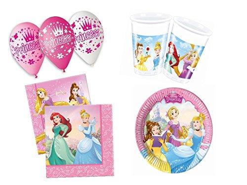 Kinder Party Set Disney Princess Kindergeburtstag 41 teilig für Mädchen Party Deko Set Party Geschirr Einweggeschirr Princess
