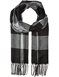 SODIAL(R) Chic Black & Gray Checked Pattern Fringe Decorated Men's Scarf