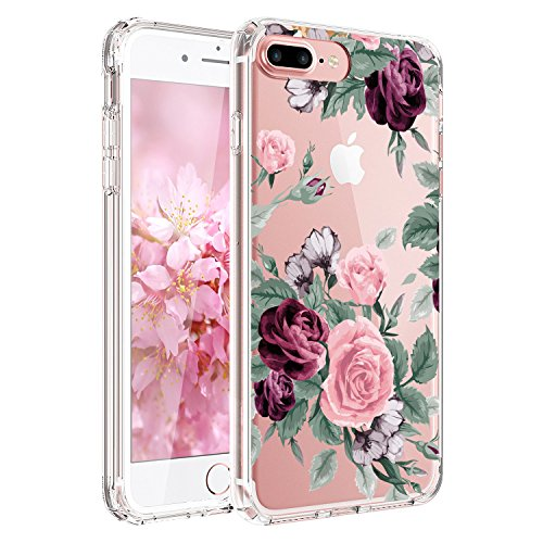 iPhone 7 Hülle, JIAXIUFEN TPU Silikon Schutz Handy Hülle Handytasche HandyHülle Etui Schale Schutzhülle Case Cover für Apple iPhone 7 / iPhone 8 - Rose Flower Pink Purple Rose