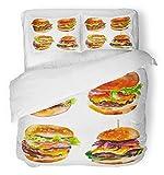 Ensemble de housse de couette 3 pièces en tissu microfibre brossé Hamburgers américains brun aquarelle sur un barbecue blanc pain de bœuf Burger Cafe ensemble de literie avec deux taies d'oreiller trè