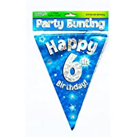 Happy 6th Birthday Flag Bunting Age Boys Blue Pennant Banner Party Decorations