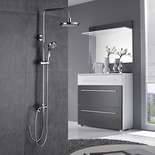 BONADE Duschsystem Duschset, Regendusche Duschsäule, inkl. Duschkopf, Überkopfbrause, Handbrause, Höhenverstellbare Duschstange Verchromt für Bad/Badewanne