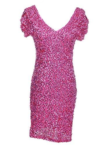 Anna-Kaci Frauen Sparkly Glitzer Pailletten Kurzarm V-Ausschnitt Bodycon Cocktail Mini Party Kleid Rosa
