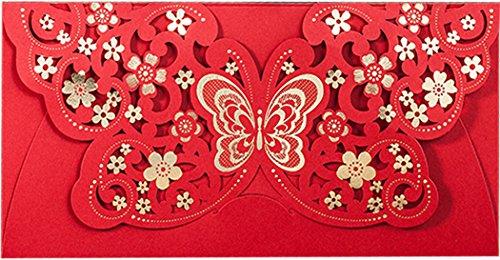 Funpa Chinesische Rote Tasche, 10Pcs Hochzeit Geld Tasche Hohle Blume Chinesische Frühlingsfest Rot Paket (Chinesische Rote Pakete)