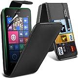 (Schwarz) Nokia Lumia 630/635 Custom Designed Stilvolle Accessoires zur Auswahl Schutzmaßnahmen Kunst Credit / Debit-Karten-Leder Flip Case Hülle, Retractable Touch Screen Stylus Pen & LCD-Display Schutzfolie von Hülle Spyrox