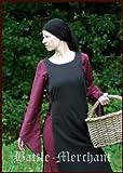 La edad media vestido Heske, Negro/burdeos - para mujer - vestido medieval - Vikingo vestido