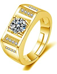 Exclusive Limited Edition 24KT Gold Swarovski Solitaire Adjustable Mens Rings - B078Q1FKBZ