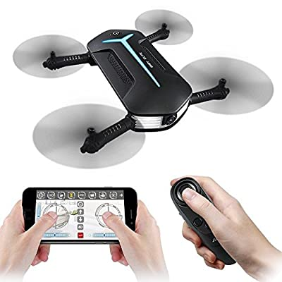 WIFI FPV Foldable Drone, JJRC H37 Mini Baby Elfie Quadcopter with HD Camera 720P Headless Mode Altitude Hold Beauty Mode RC Drone RTF - Black
