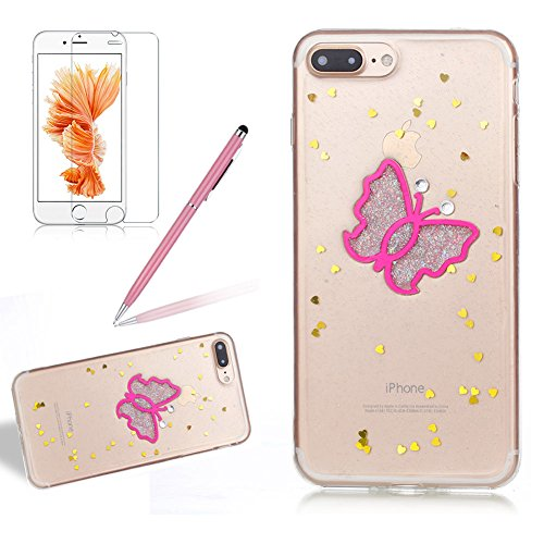 Custodia per Apple iPhone 7 Plus / iPhone 8 Plus 5.5 Torretta di Trasmissione - Bling Girlyard Glitter Brillantini in TPU Sottile Morbido Colorate Silicone Trasparente Slim Case Cover Gel Antiurto El Rosa Farfalla