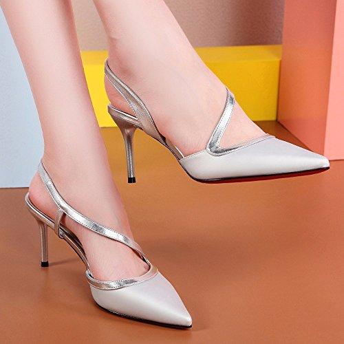 No. 55 Shoes Onorevoli Sandali con Tacchi Punta Fine Estate con Centinaia di Scarpe da Donna Argento