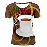 ouzhouxijia Womens 3D Print Cartoon Creative Romantic Coffee Summer Short Sleeve T Shirts Casual Graphics Tees XL