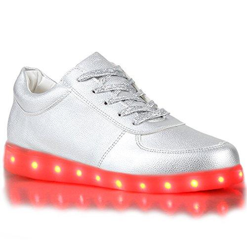 Sofort lieferbar aus DE - Leuchtende und Blinkende Damen Herren Kinder Mädchen Jungen Sneakers High und Low Led Light Farbwechsel Schuhe LED Licht Silber
