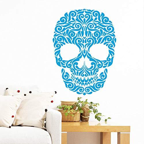 Vinyl Aufkleber Decals Kunst Wohnkultur Wandbild Zucker Schädel Tattoo Gesicht Blumenmuster Damast Tag Der Toten Horror55 * 75Cm ()