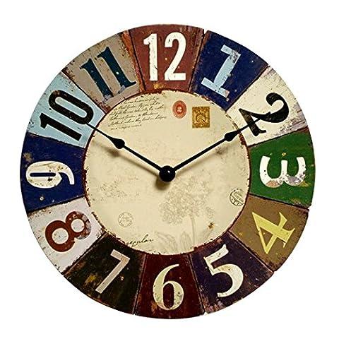Horloges murales créatives de style européen Horloges murales en bois silencieux