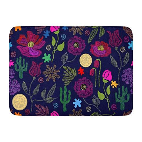 Fußmatten Badteppiche Outdoor/Indoor Fußmatte Blloming Summer Garden Floral Wildblumen und Kakteen 1950er 1960er Motive Retro Kollektion Bunt auf dunklem Badezimmerdekor Teppich Badteppich -